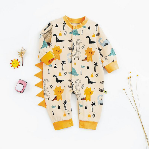 Baby 3D Tail Design Dinosaur Allover Long-sleeve Jumpsuit