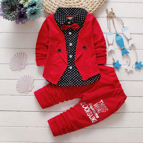 Bow tie autumn gentleman sets baby clothes