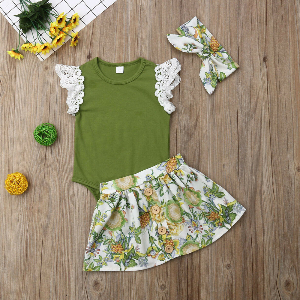 3-piece Lace Sleeve Bodysuit and Floral Skirt Set