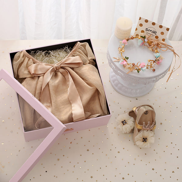 baby dress gift box dress shoes headpiece