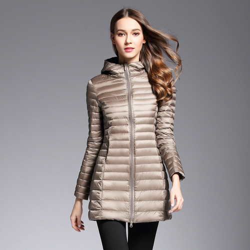 Hooded Long Jacket White Duck Down Female