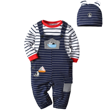 Baby sailing embroidery jumpsuit