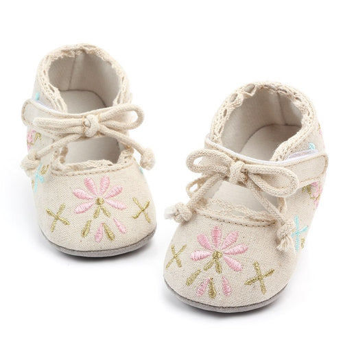 Baby embroidered cotton toddler shoes