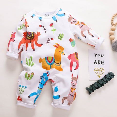 Vivid Alpaca Printed Long-sleeve Jumpsuit for Baby