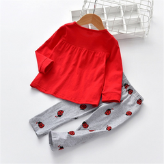 Fun Ladybug Embroidery Bow Tee and Pants Set