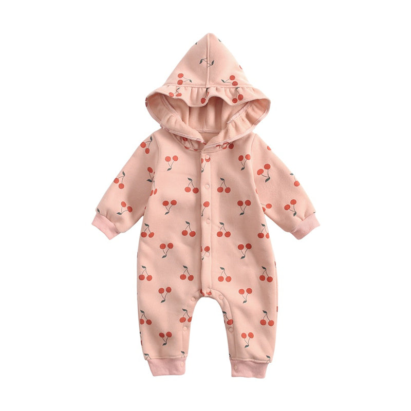 Baby cherry print jumpsuit with hat