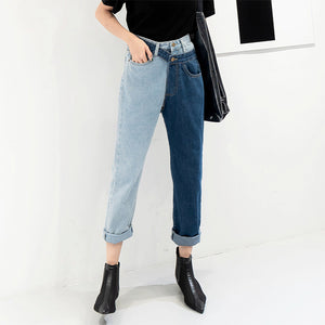 Contrast stitching fashion female jeans