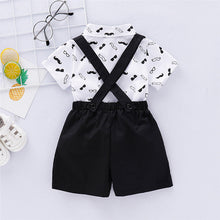Load image into Gallery viewer, Baby Gentleman Moustache Suspender Shorts Set