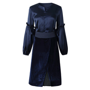 Two-piece velvet lantern sleeve temperament skirt
