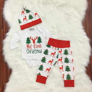 Cotton Christmas Tree Deer Children's Set Hare + Pants + Hat 3-Piece Set