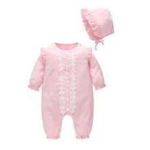 Load image into Gallery viewer, Pink lace baby  knit jumpsuit newborn hat