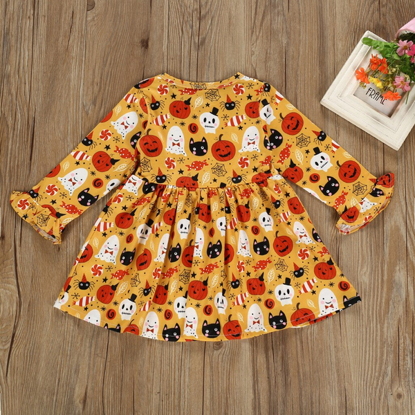 Children Dress Toddler Kids Baby Girl Halloween Pumpkin