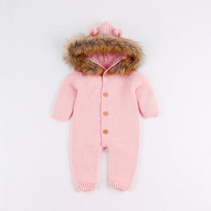 Baby cartoon bear knit jumpsuit