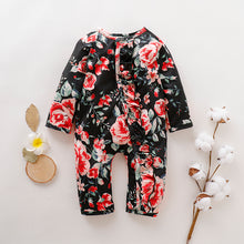 Load image into Gallery viewer, Baby ruffled floral single-breasted jumpsuit