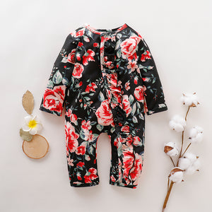 Baby ruffled floral single-breasted jumpsuit