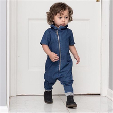 Load image into Gallery viewer, men's sleeveless onesies super soft denim