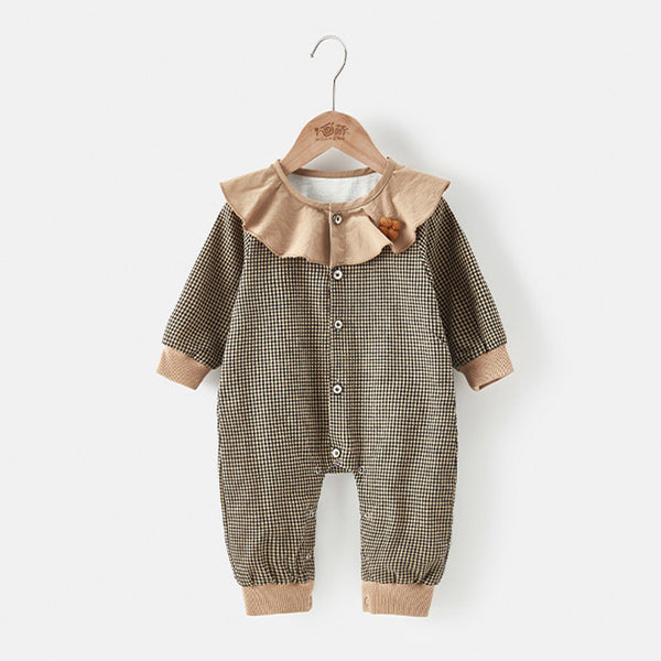 Baby plaid ruffled collar jumpsuit