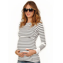 Load image into Gallery viewer, Pregnant woman striped breastfeeding shirt