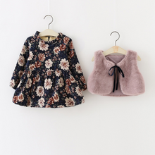 Load image into Gallery viewer, 2 Pcs Plush Lined Floral Dress and Faux Fur Vest Set