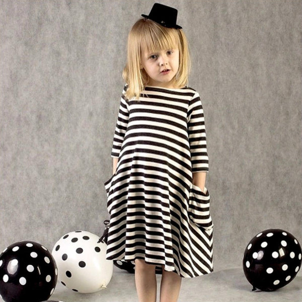 Striped mother and daughter family dress