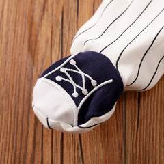 Sporty Style Letter Print Striped Footed Jumpsuit for Baby Boy
