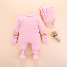 Load image into Gallery viewer, Baby jumpsuit caps gloves  shoes(3-piece suit)