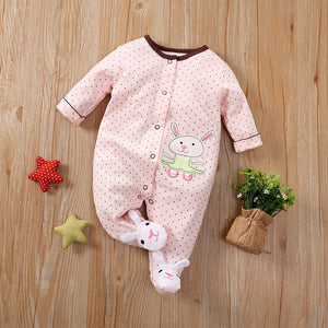 Rabbit printed dot jumpsuit