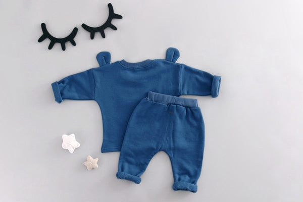 Baby cotton bear ear two-piece