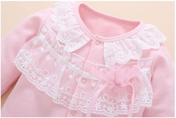 Baby lace long sleeve jumpsuit with hat