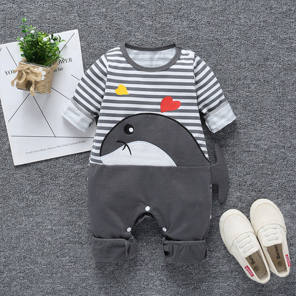 Baby cartoon whale jumpsuit