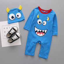 Load image into Gallery viewer, Baby Monster Print Jumpsuit with Hat