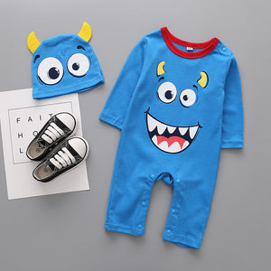 Baby Monster Print Jumpsuit with Hat