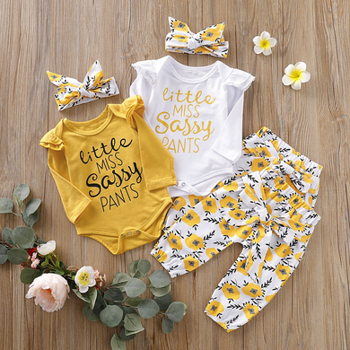 3-piece Baby Girl LITTLE MISS SASSY PANTS Print Bodysuit