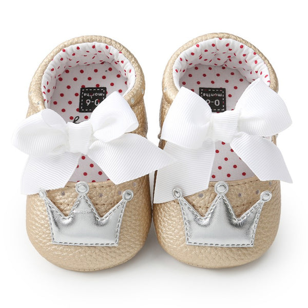 Crown bow baby soft bottom shoes