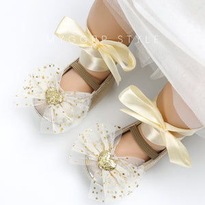 Baby lace bow princess shoes