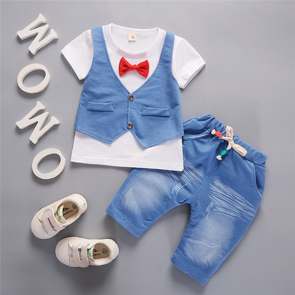 Kids Bowknot Short Sleeve T-shirt+Pants Gentlem