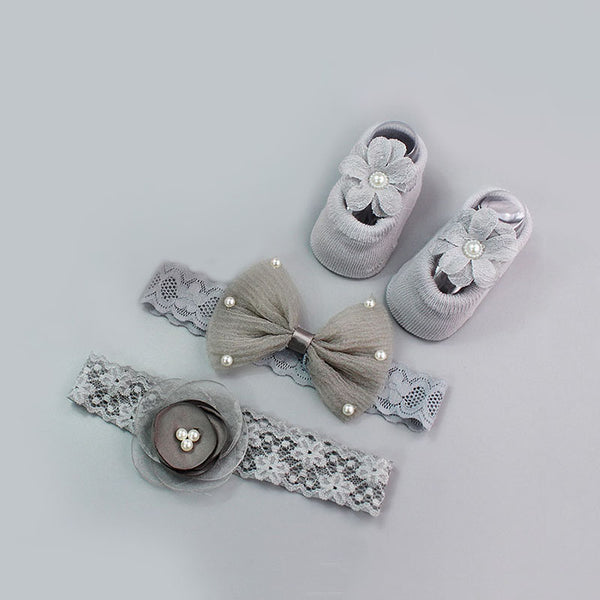 Newborn baby bow crown socks set