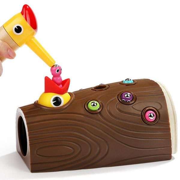 Wood magnetic catching insect game