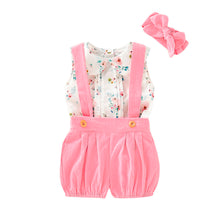 Load image into Gallery viewer, 3-piece Baby / Toddler Sweet Floral Sleeveless Top and Suspender Shorts with Headband Set