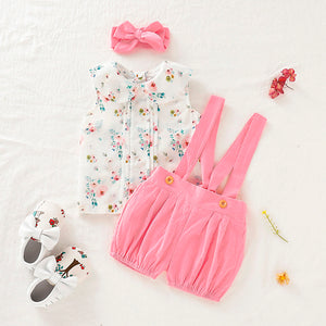 3-piece Baby / Toddler Sweet Floral Sleeveless Top and Suspender Shorts with Headband Set