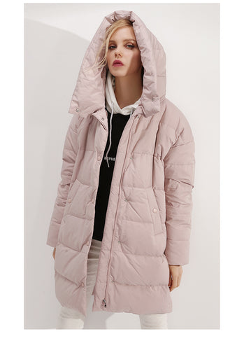 White duck down warm hooded down jacket