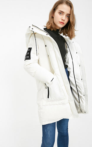 Hooded letter velcro down jacket
