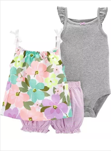 3-Piece Floral Little Short Set