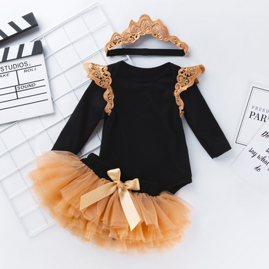 Baby black one-piece dress suit