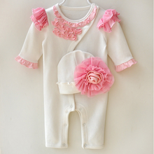 Load image into Gallery viewer, Baby Girls Princess with infants hats Jumpsuits