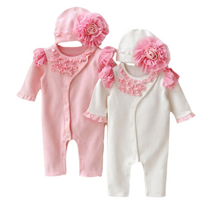 Baby Girls Princess with infants hats Jumpsuits