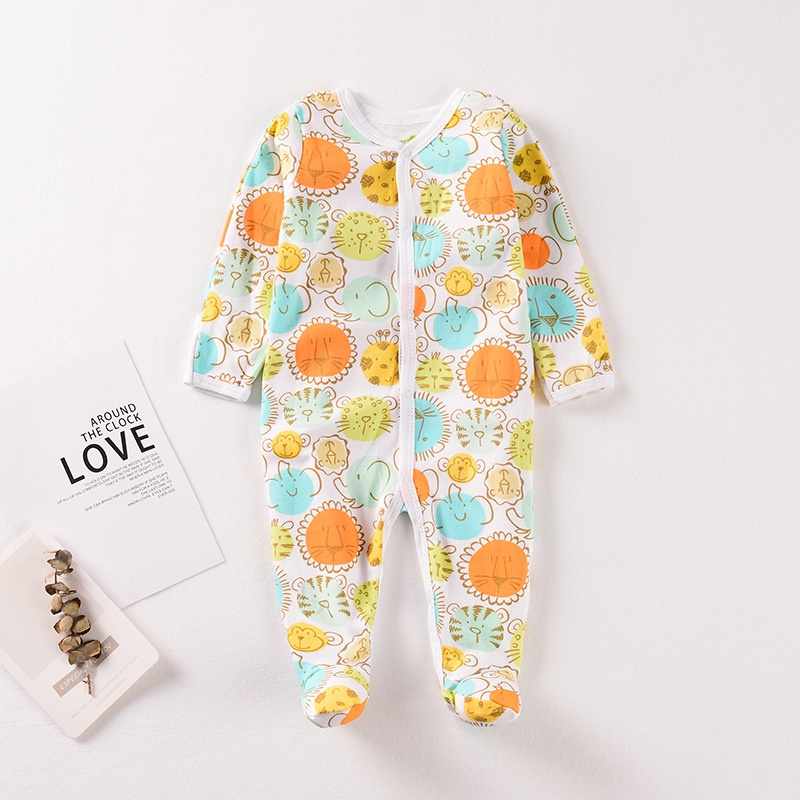 Baby Footed Design Cute Tiger Allover Long-sleeve Jumpsuit