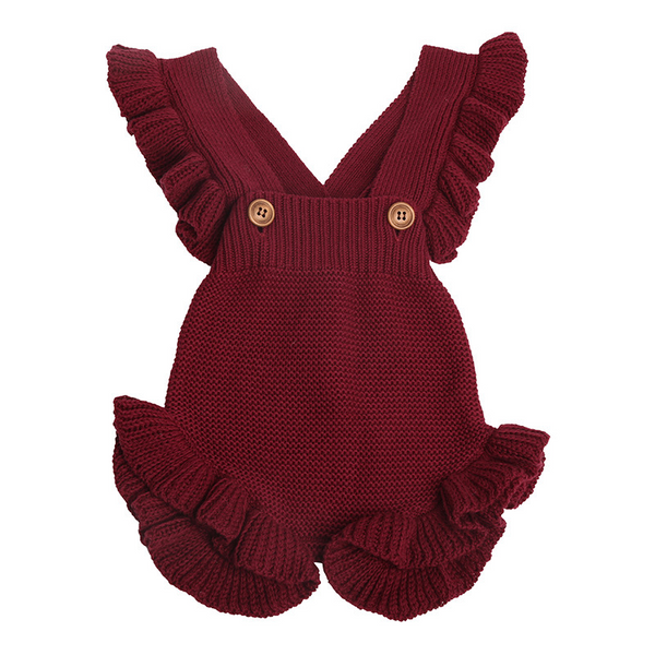 Ruffled shoulder straps shorts baby sweater