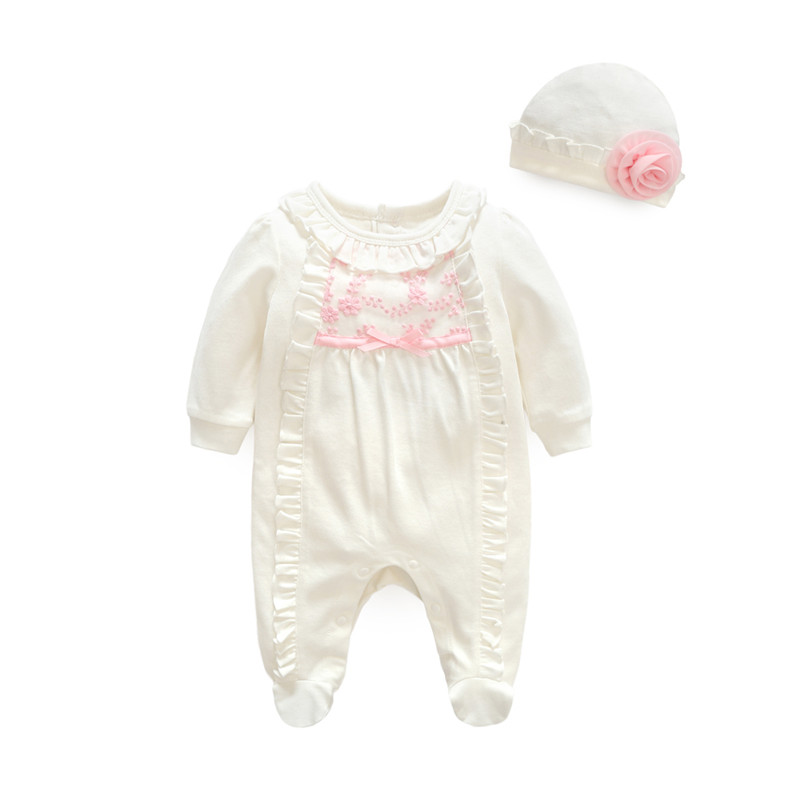 Ruffle Footie Jumpsuit with Hat Set