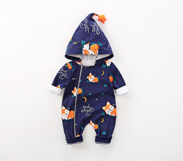 Baby Fox Allover Hooded Long-sleeve Jumpsuit